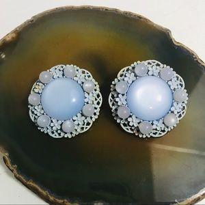 VINTAGE Blue Button Clip Earrings
